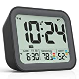 Battery Operated Alarm Clock, Small Simple Travel Alarm Clock with Indoor Thermometer & Digital Hygrometer, Loud Dual Alarm Clock for Bedroom, Bedside, Desk, Teens, Kids & Heavy Sleepers