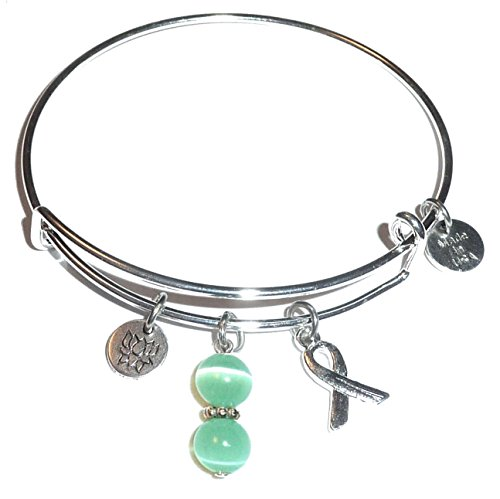 Cancer Awareness (Hope for the Cure) Expandable Wire Bangle Bracelet, Comes in a GIFT BOX! (Ovarian Cancer (Ovarian Cancer Awareness Bracelet)