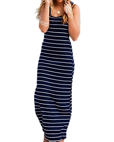 kenoce Women's Striped Long Dress Scoop Neck Sleeveless Loose Casual Maxi Beach Sundress Blue M -
