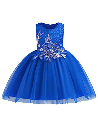 YaYa Bay Blue Girl Dress, Flower Embroidered Big Girls Dresses Sash Belt Bowtie Zipper Back A Line Flowy Full Bottom Gowns for Father/Daughter Dance Blue Size (150) 7-8 Years