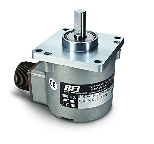 BEI Sensors 01002-7680 H25 Rotary Incremental Optical Encoder, H25D-SS-2048-ABC-28V/5-TB, Heavy duty 2.5'' diameter square flange mount, 1.25'' diameter pilot and 3/8'' diameter shaft, 2048 ppr, 2.5'' by BEI SENSORS