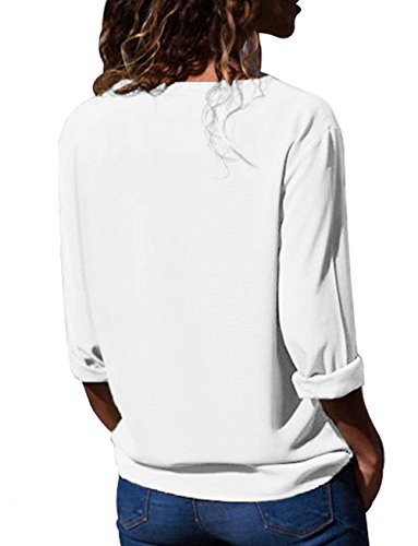 Top Blouse Longues Chemisier Manches Blanc Mode Button Up Haut Tunique T Femme Aitos Shirt Casual Chic 08Bwq8t