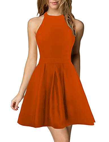 Orange Homecoming Dresses (Berydress Women's Halter Neck Backless Black Cocktail Party Dress (XXL, 6019-Orange))