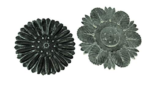 PD Home & Garden Distressed Embossed Tin Flower Decorative Wall Plaque Set of 2