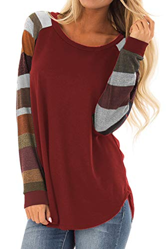 Allimy Women Long Sleeve T Shirts Tee Fall Clothing Tunics Tops 2018 Blouses Medium Red