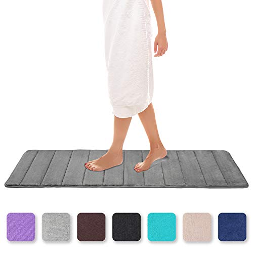 Colorxy Memory Foam Bath Mat - Soft & Absorbent Bathroom Rugs Non Slip Large Bath Rug Runner for Kitchen Bathroom Floors 16