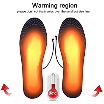 Heating Insoles USB Heated Insoles Electric Powered Heating Shoes Insoles Warm Socks Feet Heater Feet Warmth-Keeping Pads DIY Cut-to-Fit Multiple Sizes Unisex Rechargeable Heated Shoes (35-39)