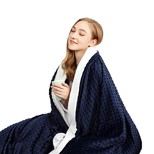 CHIAVE-Weighted-Blanket-20-lbs-60x80-Queen-Size-for-Adults-from-175-to-230-lbs-Removable-and-Washable-Plush-Minky-Cover-Navy-White