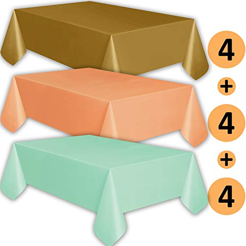 12 Plastic Tablecloths - Gold, Peach, Mint - Premium Thickness Disposable Table Cover, 108 x 54 Inch, 4 Each Color