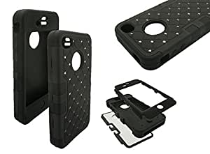 iPhone 4 Diamond Case, Nue Designs TM Cute Bling Rugged High Impact Hybrid Diamond Soft Silicone Hard Skin Case Cover iPhone 4/4s (BLACK/BLACK)