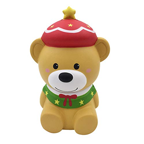 L.DONG Jumbo Squishy Toys Christmas Bear , Slow Rising Scented Animal Squishies Cute Design Party Decoration Hand Toys Stress Relieve Squeeze Kawaii Gift for Kids Adults (Brown)
