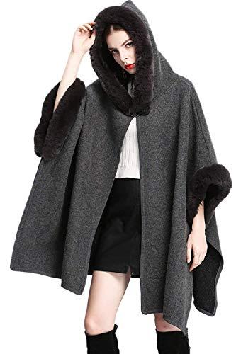 BoBoLily Femme Cape lgant Hiver Chale avec Fourrure Chaud Spcial Style Outwear Robes Manches Longues Festive Le Chale Etole paissir Grey