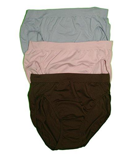 Bali Women's Comfort Revolution High-Cut Panties, Brown/BlushingPink/Blue, ()
