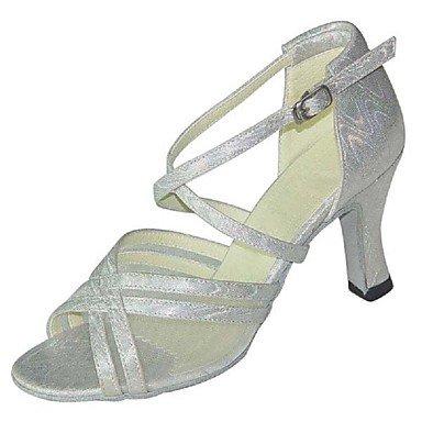 XIAMUO Anpassbare Women's Ballroom Dance Schuhe Satin/funkelnden Glitter Latin/Salsa Sandalen/Fersen angepasste Ferse, weiß, EU/US8.5 39/UK6.5/CN 40