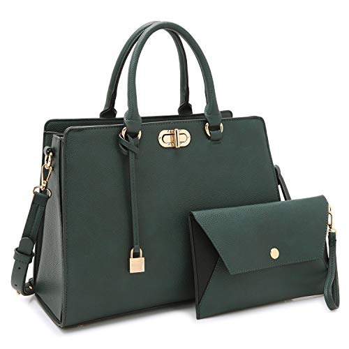 Medium Fashion Handbags for Women, Women's Designer Satchel Purses and Handbags Top Handle Shoulder Bags Tote Bag w/Pad Lock (7581 Army Green)