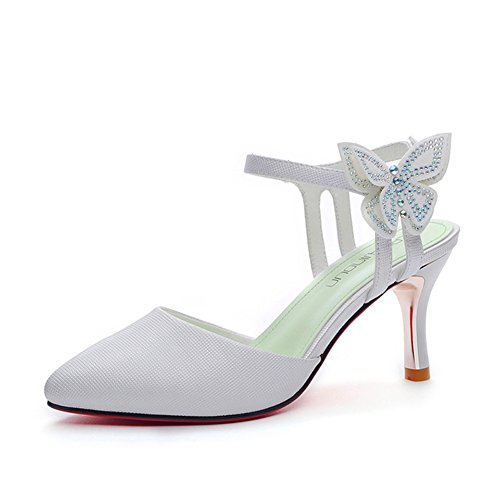 Women's Single Shoes 2018 Spring, Summer Fall Pointed Toe Ankle Straps Buckle Stiletto Pumps Shoes Strappy High Heel Sandals Ladies Single Shoes (Color : White, Size : 35)