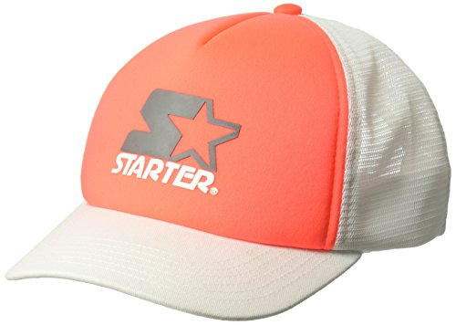 Adjustable Hat Starter (Starter Girls' Mesh-Back Trucker Cap, Prime Exclusive, Match Coral/White, One Size)