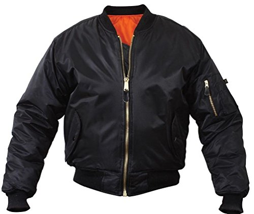 Flight Jacket Military Style Ma-1 Reversible Bomber Coat Aviator Coat Black