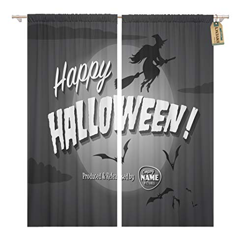 Golee Window Curtain Retro Movie Ending Screen Happy Halloween Vintage Witch Scary Home Decor Rod Pocket Drapes 2 Panels Curtain 104 x 84 inches -