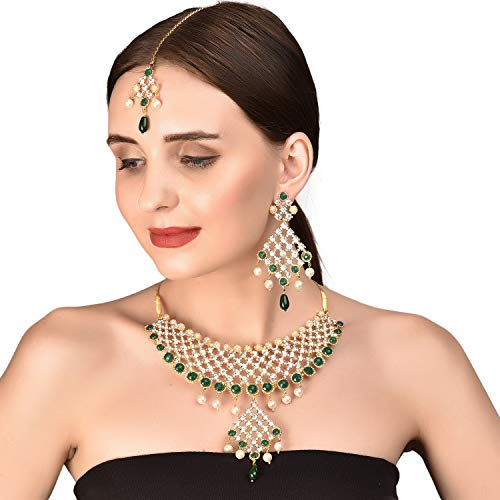 Touchstone Gold Tone Indian Bollywood Green Faux Emeralds/Pearls Bridal Jewelry Necklace Set for Women