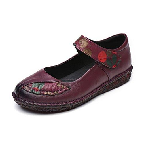 de Style Boucle Ethnique Antidérapantes Violet Confortable Ville en JRenok Souple de Cuir Plates Femmes Mocassins 41 Chaussures 35 Mot qX4wEC