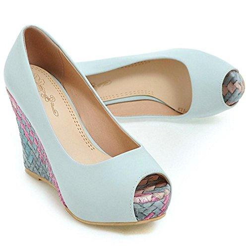 Toe Light Zapatos Peep Bombas De Mujer Cuna Blue Coolcept Tacon EF4qRxw