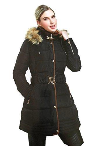 #940 Damen Daunenjacke Parka Wintermantel Designer Jacke Stepp Fellkapuze Blau Beige Schwarz 34 36 38 40 S M L XL #610