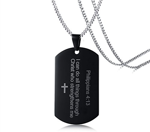 MEALGUET Stainless Steel I can do All Things Through Christ who Strengthens me Philippian 4:13 Inspirational Cross Dogtag Necklace for Men - Jesus Christ Charm