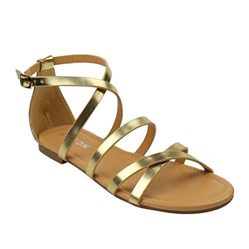 Beston DE15 Women's Gladiator Criss Cross Buckle Strap Flat Ankle Sandals Half Size Small, Color:GOLD, Size:7.5