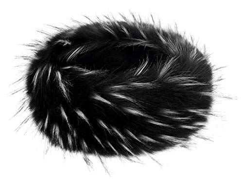 Futrzane Winter Faux Fur Headband for Women and Girls (Black and White Jenot) ()