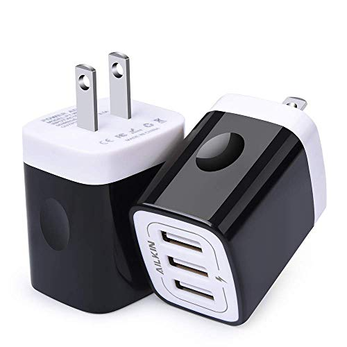 Usb Home Charger - Black USB Wall Charger, Ailkin Fast Wall Plug, Travel Charger Home Power Block Charging Cube Replacement for iPhone X/8/7/7 Plus/6s/6s Plus, iPad Pro/Air 2, Samsung S9/S8, and More(2 Pack)