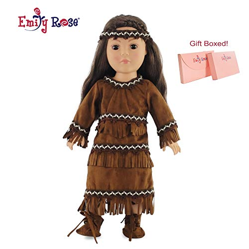 "Emily Rose 18 Inch Doll Clothes/Clothing Fits American Girl - Native American Outfit Fits Kaya 18"" Dolls Plus Accessories"