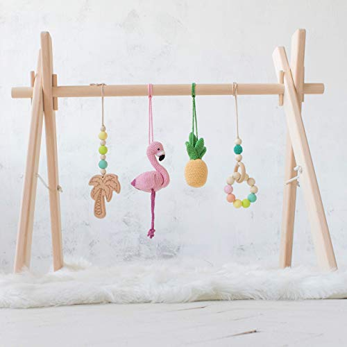 (Flamingo Wooden Baby Gym with 4 Mobiles by LanaCrocheting: Crochet Flamingo, Pineapple, Wooden Palm Tree, Beaded Ring. Infant Play. Activity Center. Shower Gift. Tropical. Handmade in Eastern Europe.)