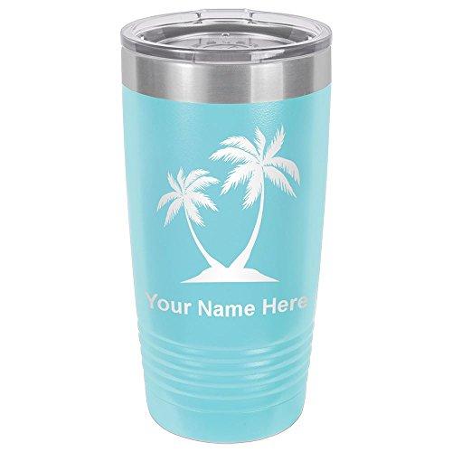 20oz Tumbler Mug, Palm Trees, Personalized Engraving Included (Light Blue)