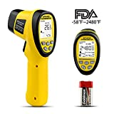 HOLDPEAK 985B Digital Infrared Thermometer Dual Laser Thermometer Non-Contact Temperature Gun -58℉~2480℉ (-50℃~1360℃) with Data Hold & Adjustable Emissivity for Forge Melting Furnace Kilns Industry