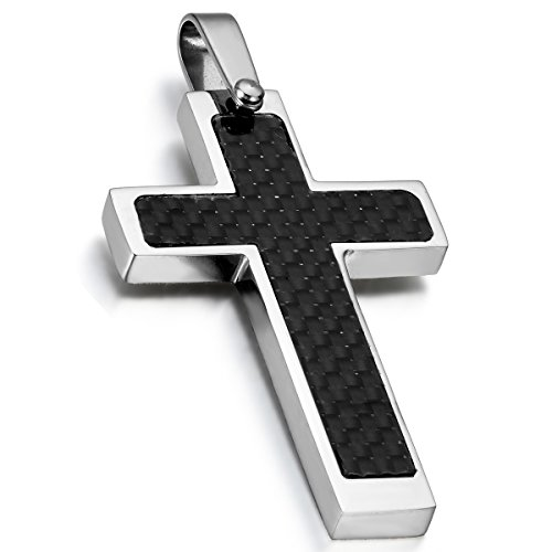 Fiber Cross Carbon Pendant (Cupimatch Mens Stainless Steel Carbon Fiber Religious Cross Pendant Necklace with 21