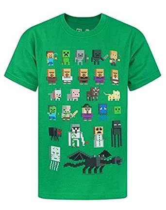 Vanilla Underground Minecraft Sprites Boys Green T-Shirt, Green, 5-6 Years