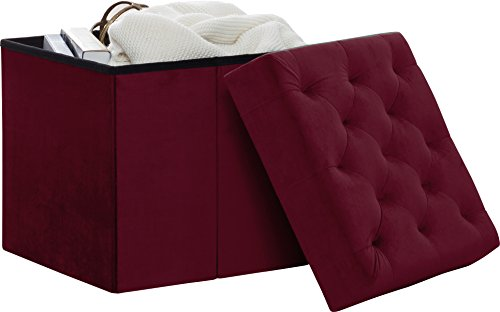 Decor Venue Foldable Velvet Tufted Storage Ottoman Square Cube Foot Rest Stool/Seat - 17