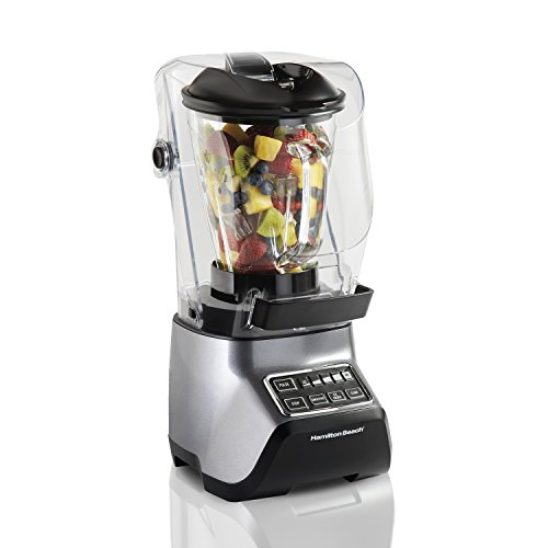Hamilton Beach 53602 SoundShield Blender, 950-Watts, 5-Speed, 3 Pre-Programmed Settings, Blends Food and Drinks, Stainless Steel Blades, 52 oz. Glass Jar and Blend-In Travel Jar, - Glass Beach Hamilton
