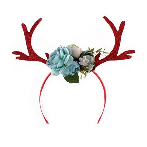 Winzik Women Girls Headwear Pretty Deer Antler with Flowers Style Hair Hoop Headband for Christmas New Year Party Gifts (Blue)