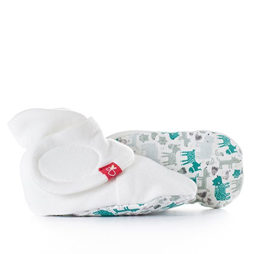 (Baby Booties, Adjustable, Soft & Secure (Forest Friends/Aqua, 3-6 Months))