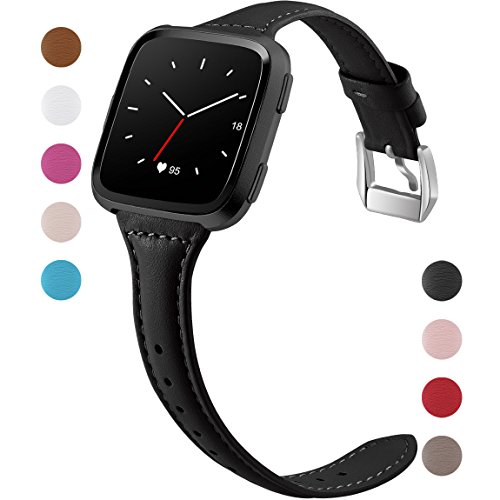 Maledan Compatible with Fitbit Versa Bands, Women Men, Slim Genuine Leather Band Accessories Replacement Strap for Fitbit Versa Smartwatch, Black, Small Size