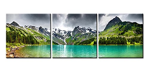 Paintings Of Russia (Canvas Print Wall Art Painting For Home Decor Russia Altai Mountain Lake Natural Miracle Of Blue Lake In Mountains With Green Trees And Snow Peaks 3 Pieces Panel Paintings Modern Giclee Stretched And Framed Artwork The Picture For Living Room Decoration Landscape Pictures Photo Prints On Canvas)