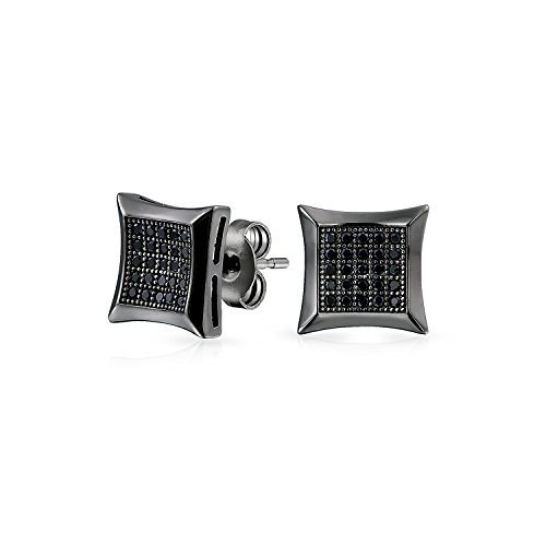 - Black Square Shaped Cubic Zirconia Micro Pave CZ Kite Stud Earrings For Men Black Plated 925 Sterling Silver 9MM
