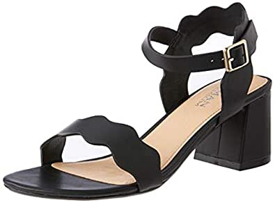 Human Premium Women's Mantal Sandals, Black Leather, 36 EU
