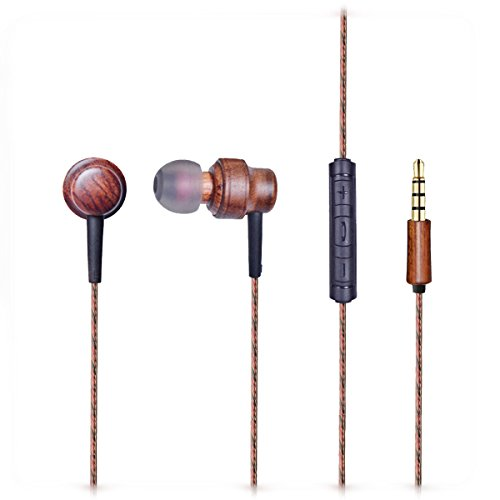 Teqstone Wood Earphones Hifi Stereo In Ear Headphones 44 Inches With Microphone