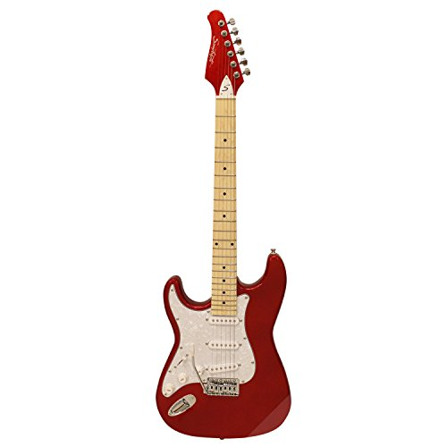Sawtooth ST-ES-LH-CARP Left Handed ST Style Electric Guitar, Candy Apple Red with Pearl White Pickguard