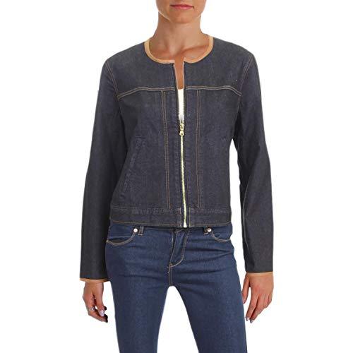- Lauren Ralph Lauren Womens Leather Trim Long Sleeves Denim Jacket Navy S