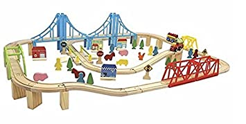 Wooden Train Set Carousel Train And City 100 Pieces Toddler Pre School Childrens Track