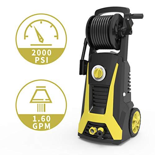 Realm Pressure Washer 2000 PSI, 1.6GPM Power Washer Machine with an Adjustable Nozzle, Spray Gun, Hose Reel, Built-in Detergent Bottole